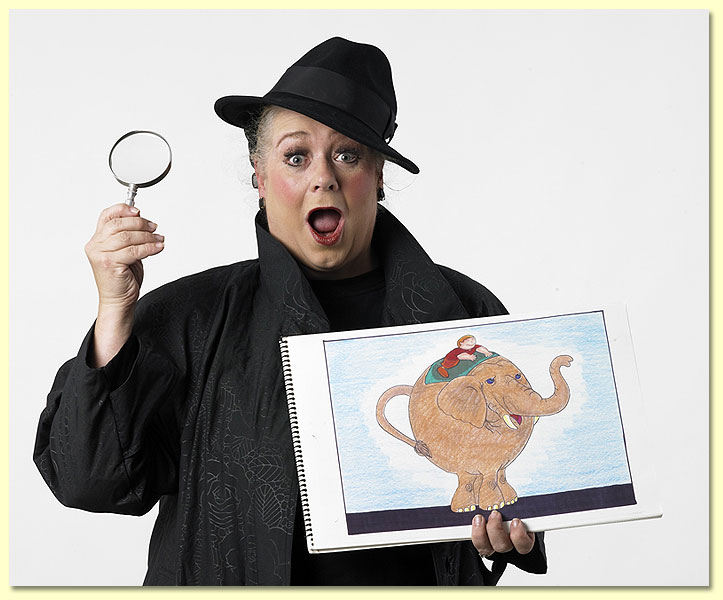 Pic of Imma Sleuth, an MCP character for the 2012 Texas Library association summer reading program, holding a drawing of an elephant.