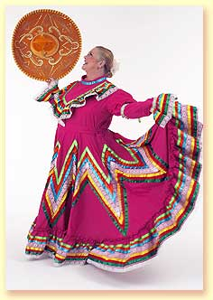 Thumbnail picture of Senorita Margarita, holding her dress with one hand, and a gold sombrero with the other.