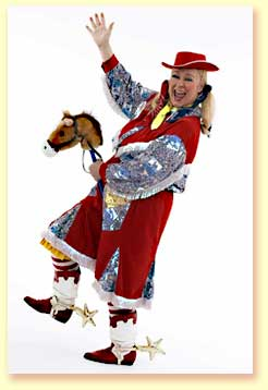 Thumbnail of Margaret Clauder dressed as Bucky the Cowgirl, a character in her library reading show.