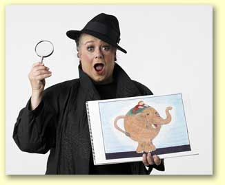 Pic of Imma Sleuth, a 2012 Texas library association reading promotion entertainer with a trenchcoat and magnifying glass.