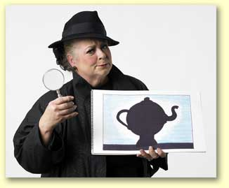 Photograph of Imma Sleuth, a children's entertainer for the 2012 Texas library association reading theme.